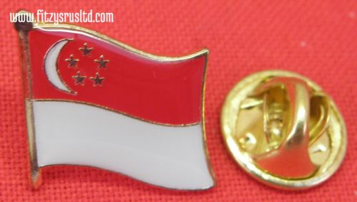 Singapore Country Flag - Lapel - Hat - Cap - Tie Pin Badge - Brand New
